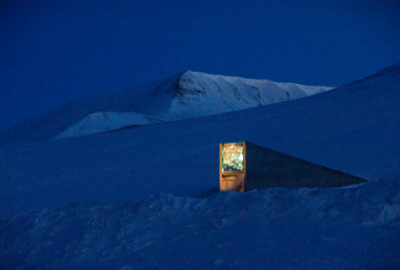 Svalbard Global Seed Vault at night  Photo: ©Mari Tefre/ Global Crop Diversity Trust