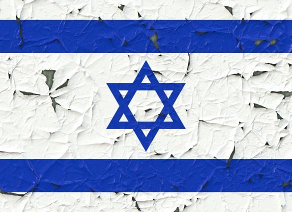 paint peeling off flag of israel